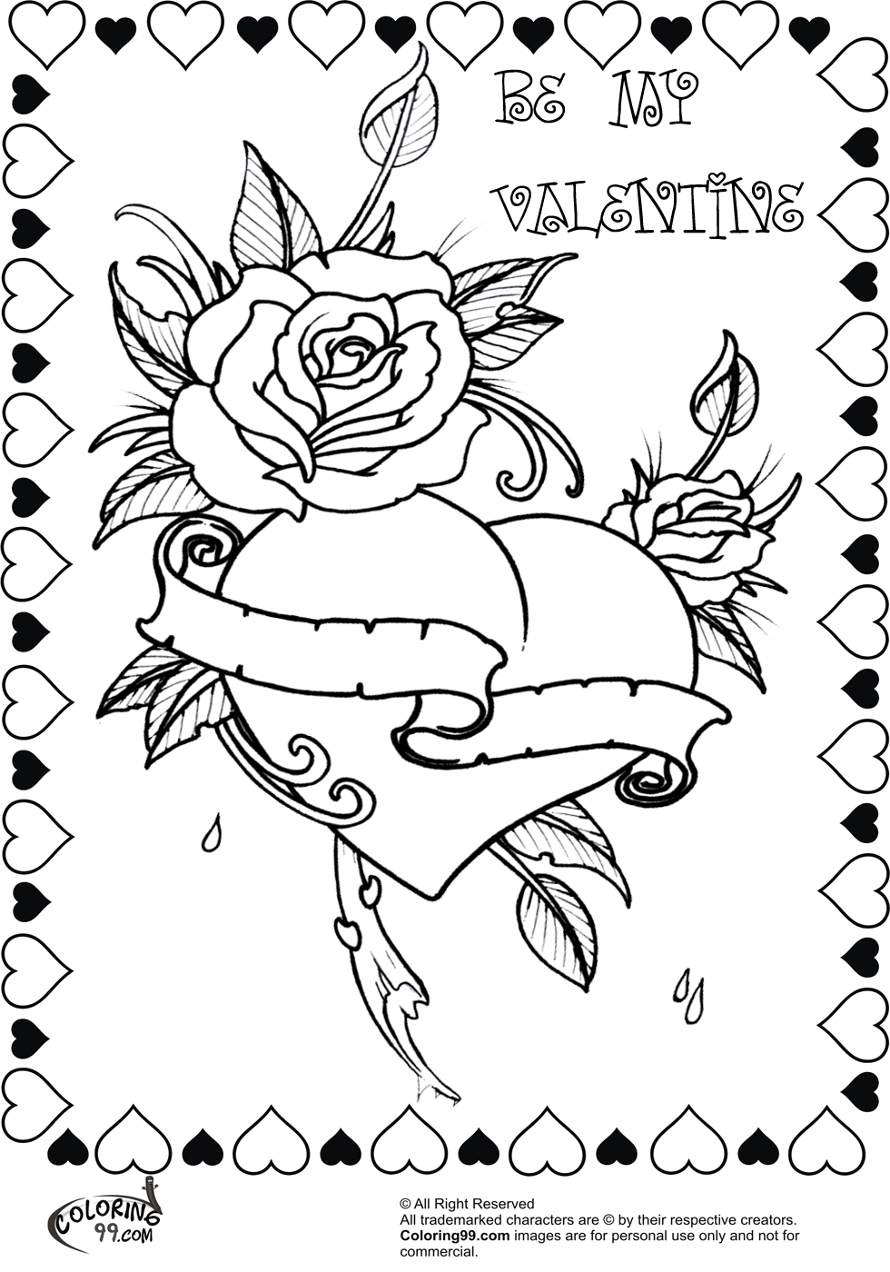 beautiful free valentines coloring pages - photo#4