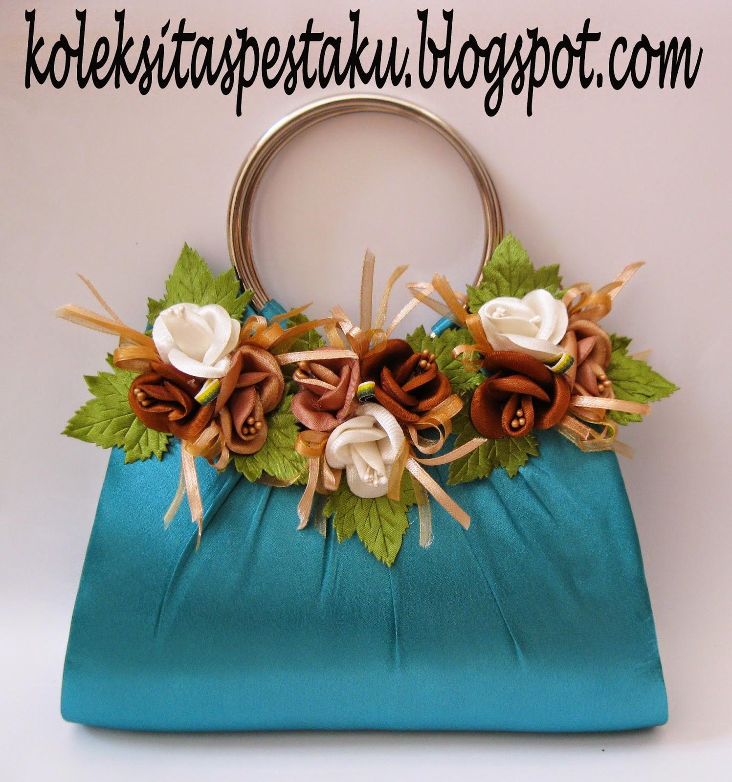 Tas Pesta Tosca dengan Bunga Cantik Coklat