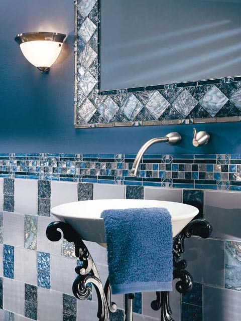Beautiful Above DJS From Brecksville, Ohio Has A Lovely Original Regency Blue Bathroom With American Standard Fixtures In Their 1961 Ranch The Blue Wall Tile Looks Smaller Than The More Common 4 Inch Square Tile From This Era  Giving Folks Who