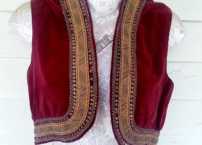 red velvet antique vest