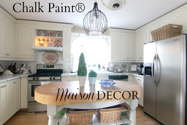 Maison Decor: Painting Kitchen Cabinets with Chalk Paint® by Annie on chalk paint on melamine cabinets before and after, chalk paint desk before and after, chalk paint kitchen cabinets blue, oak cabinets before and after, chalk paint laundry room cabinets, backsplash tile paint before and after, kitchen cabinet makeovers before and after, cabinets glazed before and after, chalk paint kitchen cabinets tutorials, chalk paint kitchen cabinets ideas, small kitchen on a budget before and after, paint laminate cabinets before and after, versaille chalk paint before and after, add molding to cabinets before and after, front door paint before and after, chalk paint for kitchen cabinets, creepy basement before and after, bathroom cabinet before and after, chalk paint on kitchen cabinets durability, painted kitchens before and after,