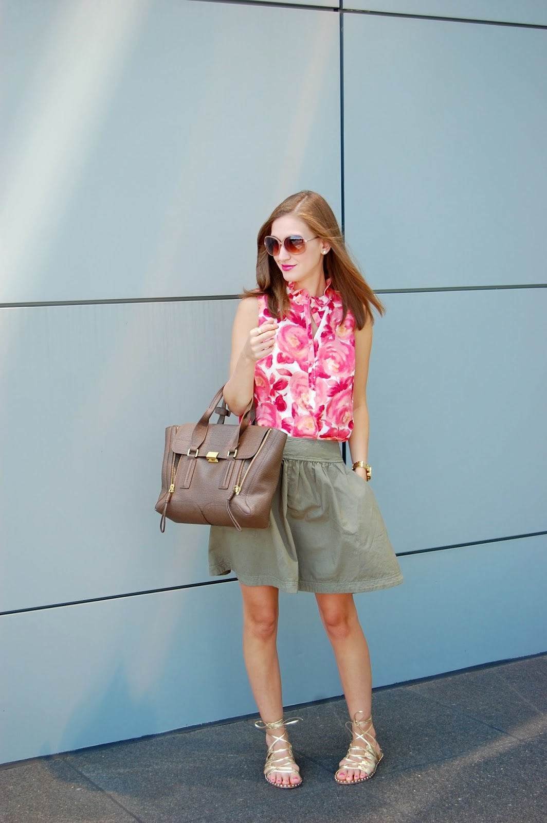 Wearing a casual day time outfit, Loft Floral blouse, Halogen A Line Flare Skirt, JCrew Studded Lace Up Gold Gladiator Sandals, Phillip Lim 3.1 Pashli Medium