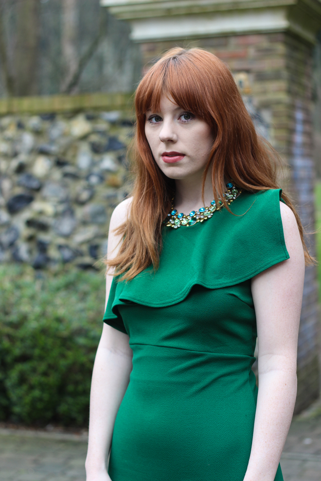 House of Fraser Green Therapy Dress - Adorning Ava Necklace - The Goodowl