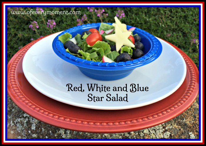 Red white and blue salad, July 4th menu, recipe