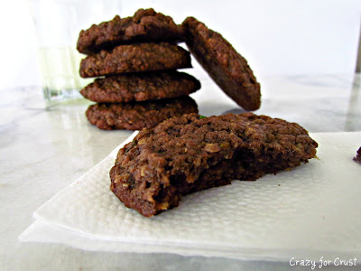 shot of chocolate oatmeal cookies with zucchini with milk glass