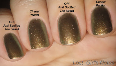 opi just spotted the lizard chanel peridot comparison