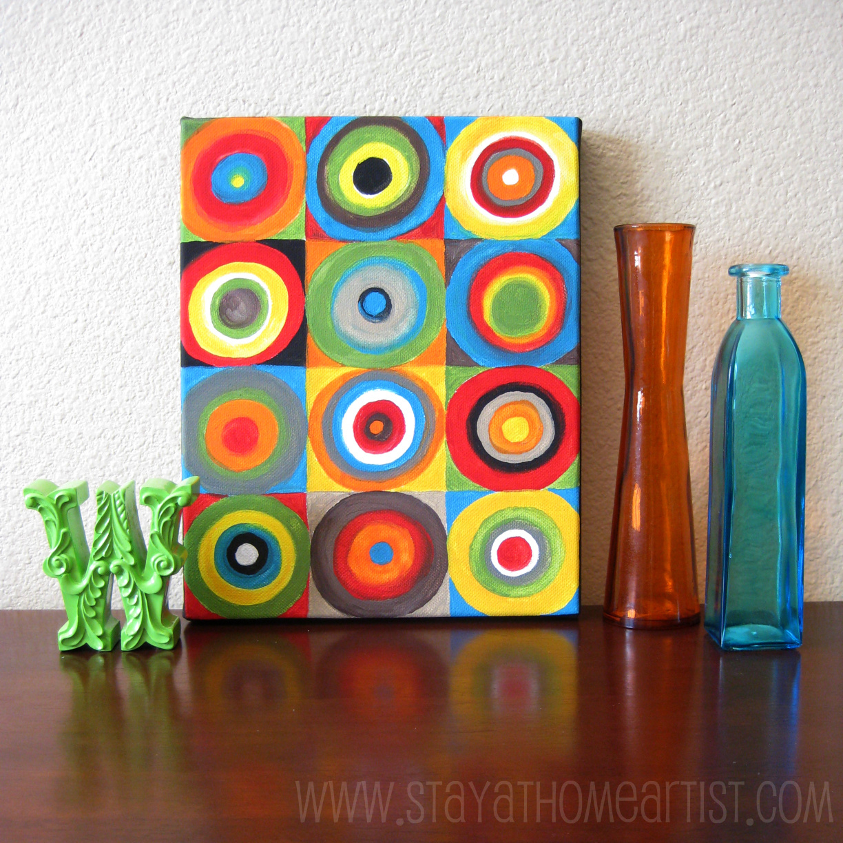 Concentric circles canvas art for Canvas art ideas for kids