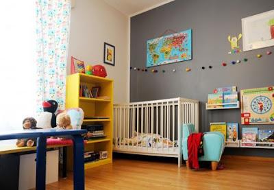 diseño dormitorio gris bebe