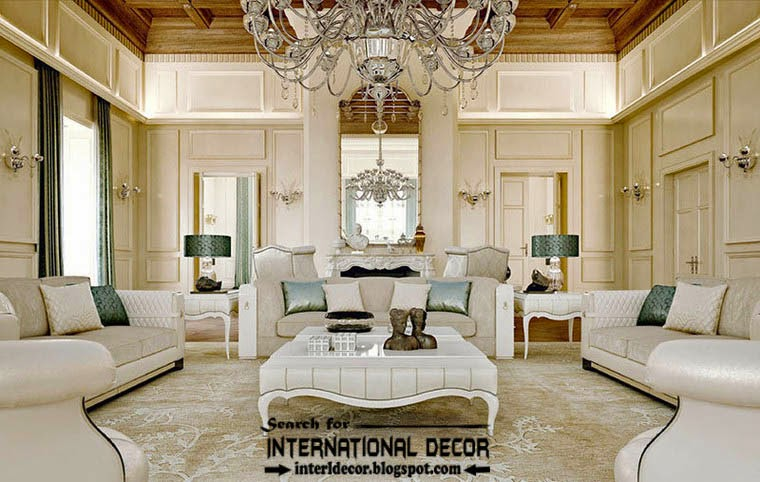 Luxury Classic Living Room Interior Design Decor With White Furniture