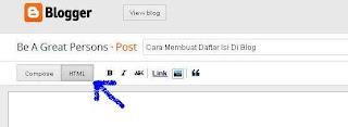 cara membuat daftar isi diblog