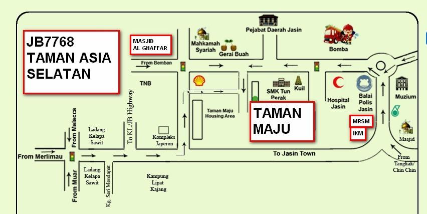 Peta Homestay SemiD Taman Maju Jasin