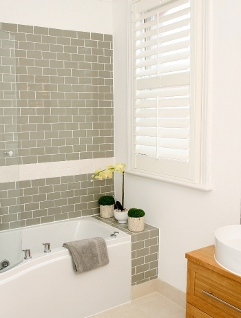 Meg the martin men plantation shutters for Small family bathroom design