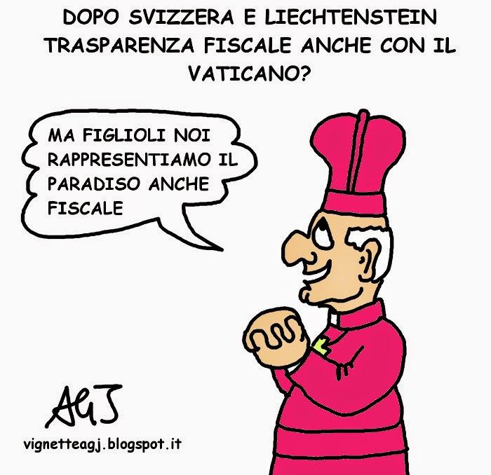 Vaticano, paradisi fiscali, trasparenza bancaria, satira . vignetta