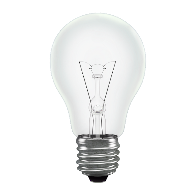 Light filament bulb standard shape transparent background