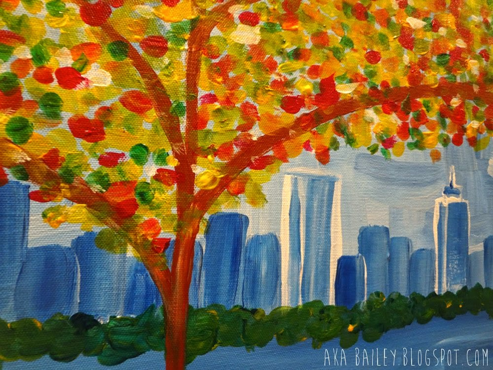 Autumnal tree, Boston skyline painting