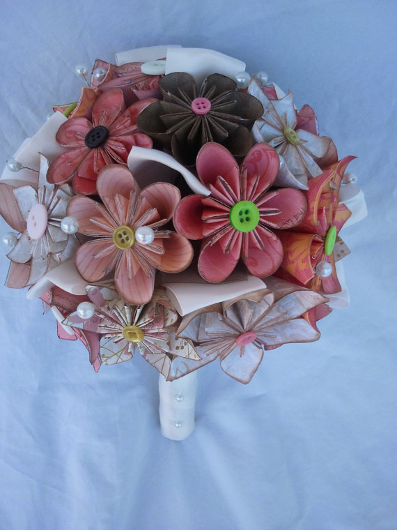 beautiful bridal origami flower bouquets