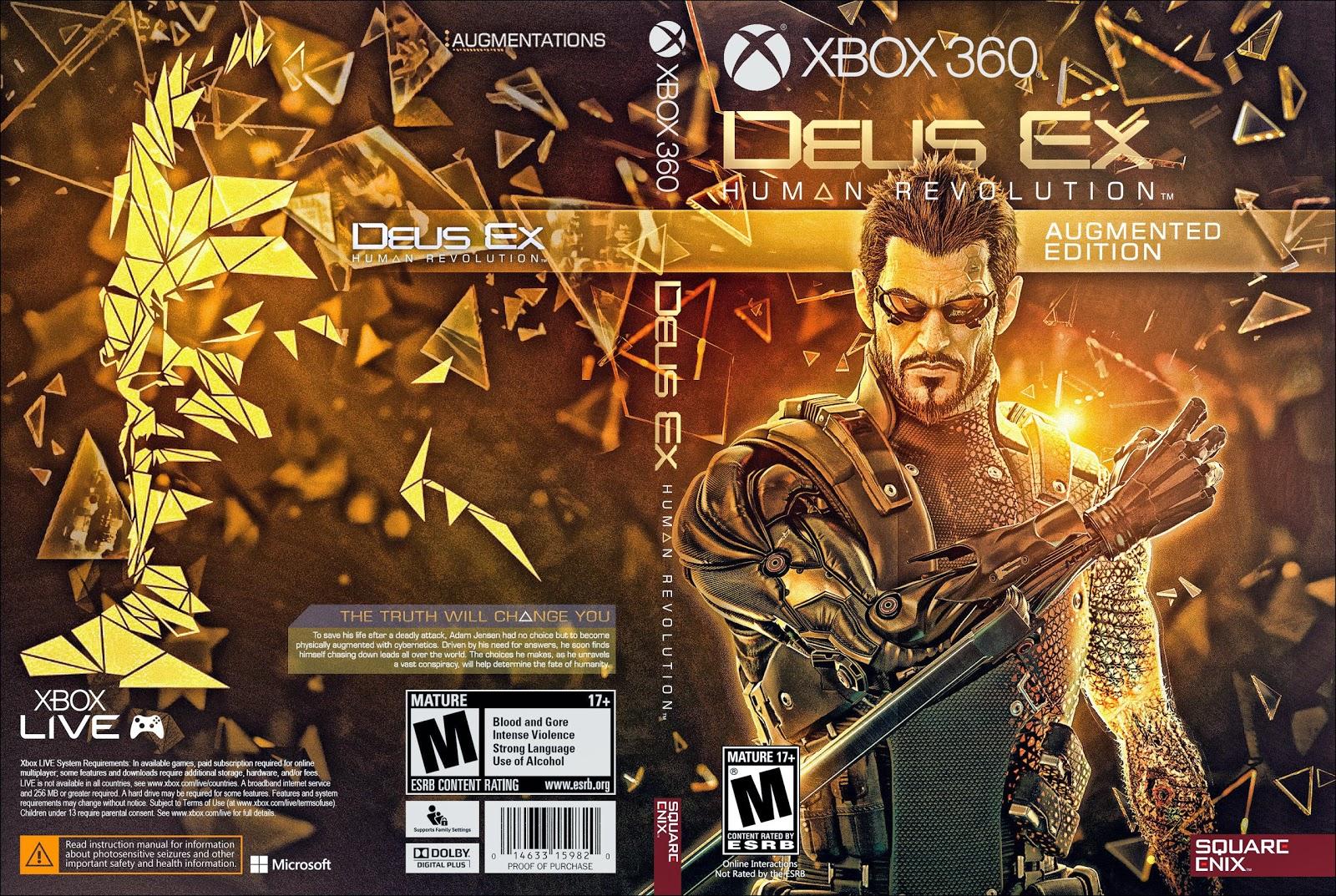 Capa Deus Ex Human Revolution Argumented Edition Xbox 360