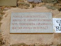 """Fragment del poema """"Records i somnis"""" de Jacint Verdaguer al carrer de la Rambla de Folgueroles"""