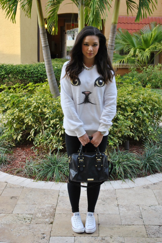 Sheinside White Kitty Cat Face Sweater, Black Old Navy leggings, Steve Madden bag, 247jewelry chain necklace, Converse White Chuck Taylor Sneakers