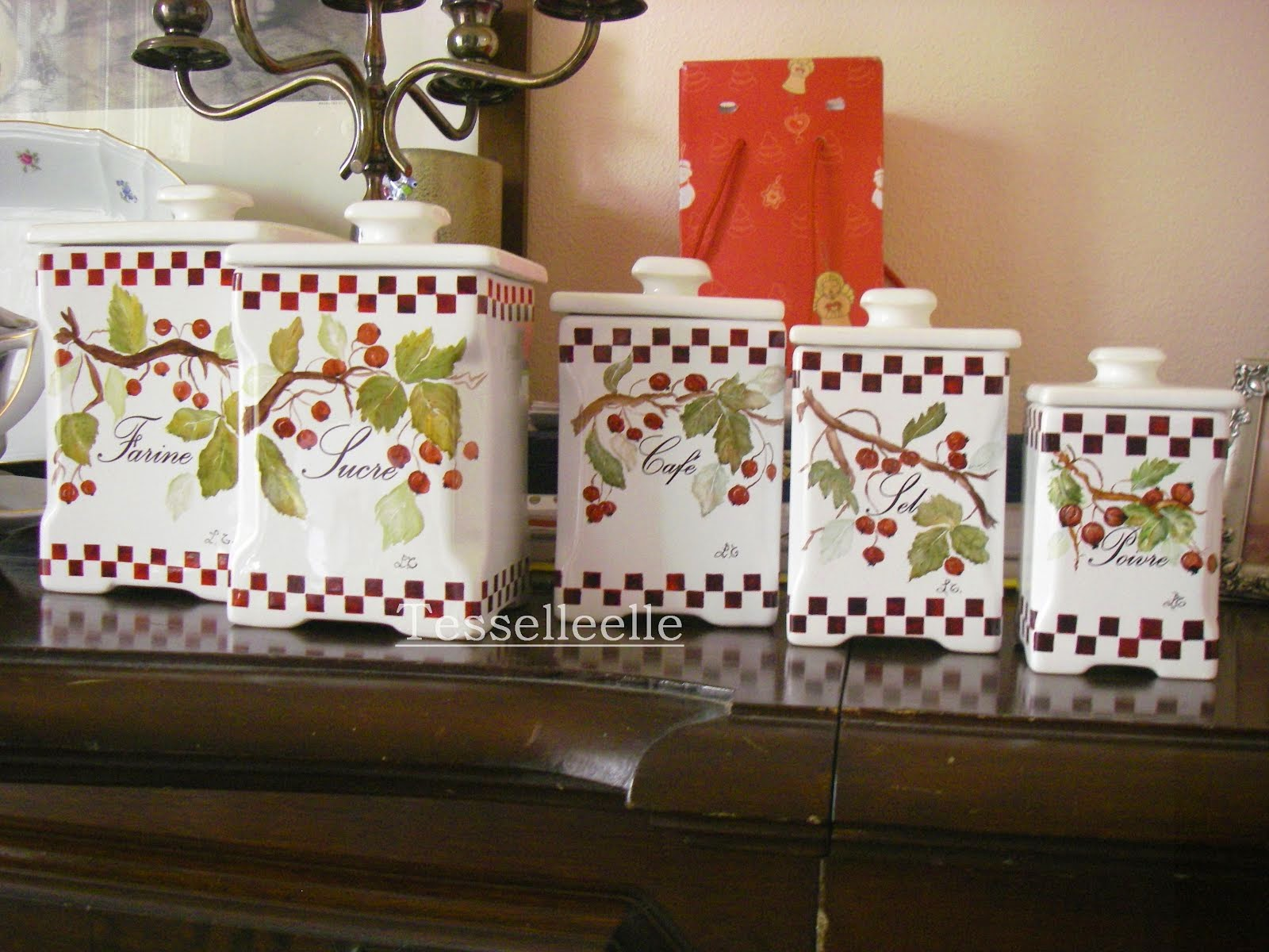 Set barattoli da cucina dipinti a mano 3° fuoco