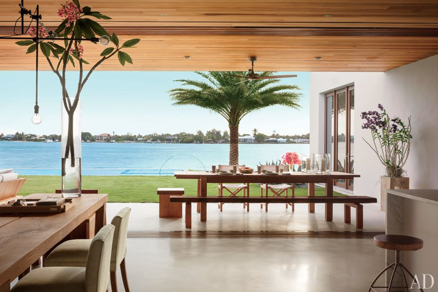 Living area with waterfront view.
