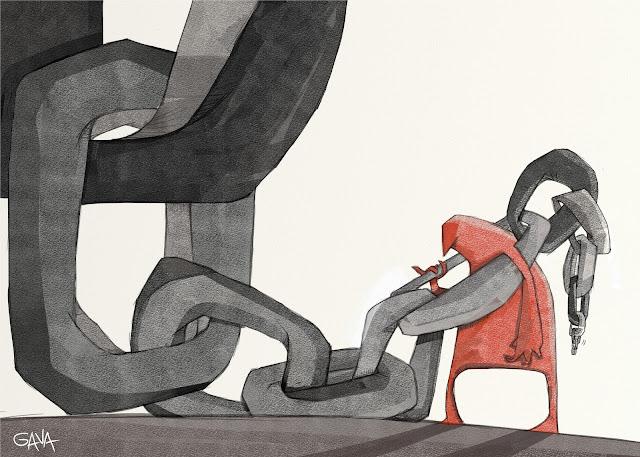 gavavenezia gava satira vignette illustrazioni ridere piangere pensare caricature fumetti  usura catena cravattari mafia ndrangheta pizzo negozi denunce