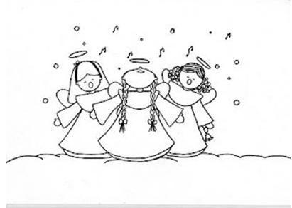 dibujo de angeles para navidad para colorear e imprimir gratis