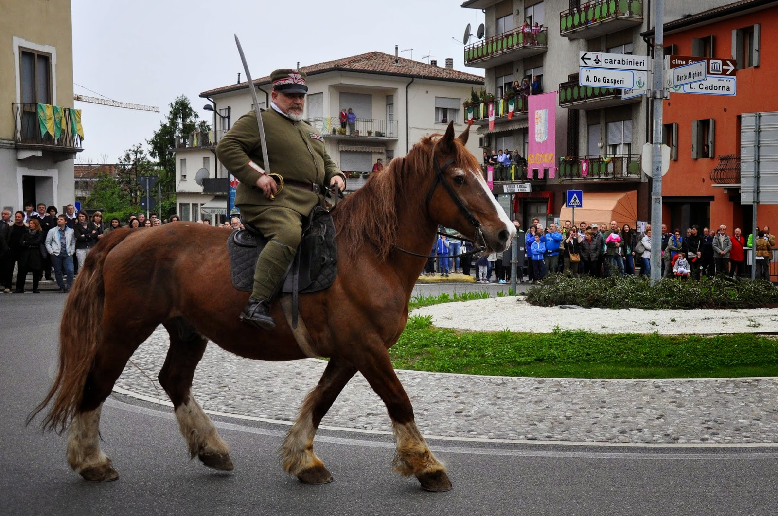 A commander on his horse at the Parade, Donkey Race, Romano d'Ezzelino, Veneto, Italy