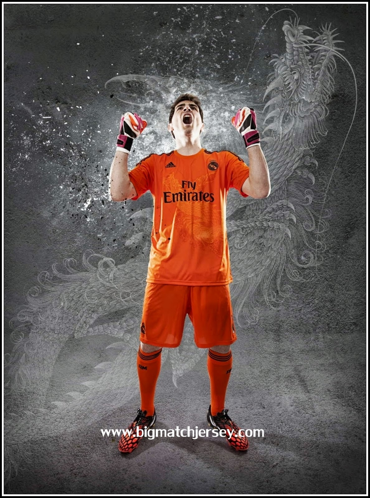 Jersey Real-Madrid 2014-2015 Goalkeeper Away Orange Iker Casillas dan Navas