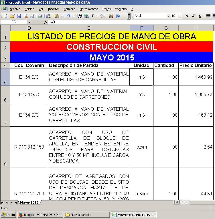 Lista de precios mano de obra construccion 2016 for Precios mano de obra construccion 2016 espana