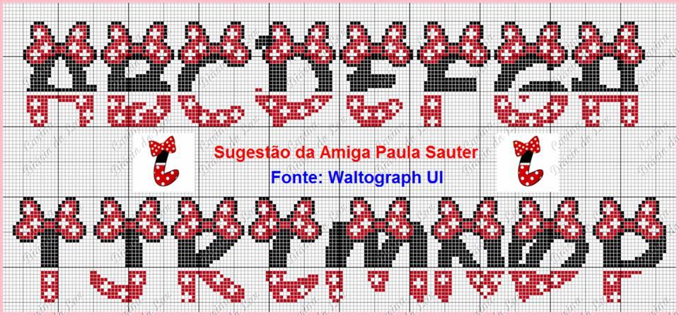 Dinha ponto cruz monogramas mickey e minnie for Alfabeto disney a punto croce