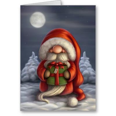 Cute Lil Santa with a Gift - Funny Christmas Card