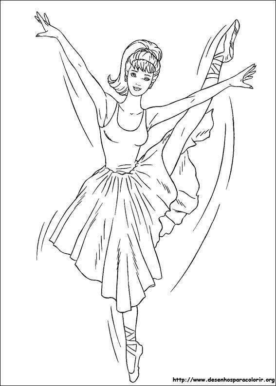 a desenhar Princesa Barbie Barbies  bailarina colorir