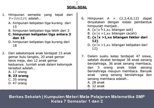 Berkas Sekolah | Kumpulan Materi dan Soal Latihan Mata Pelajaran Matematika SMP Kelas 7 Semester 1 dan 2