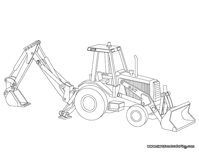 Caterpillar backhoe loader coloring page