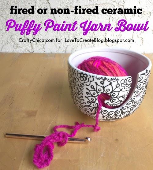Puffy Paint Ceramic Yarn Bowl Ilovetocreate