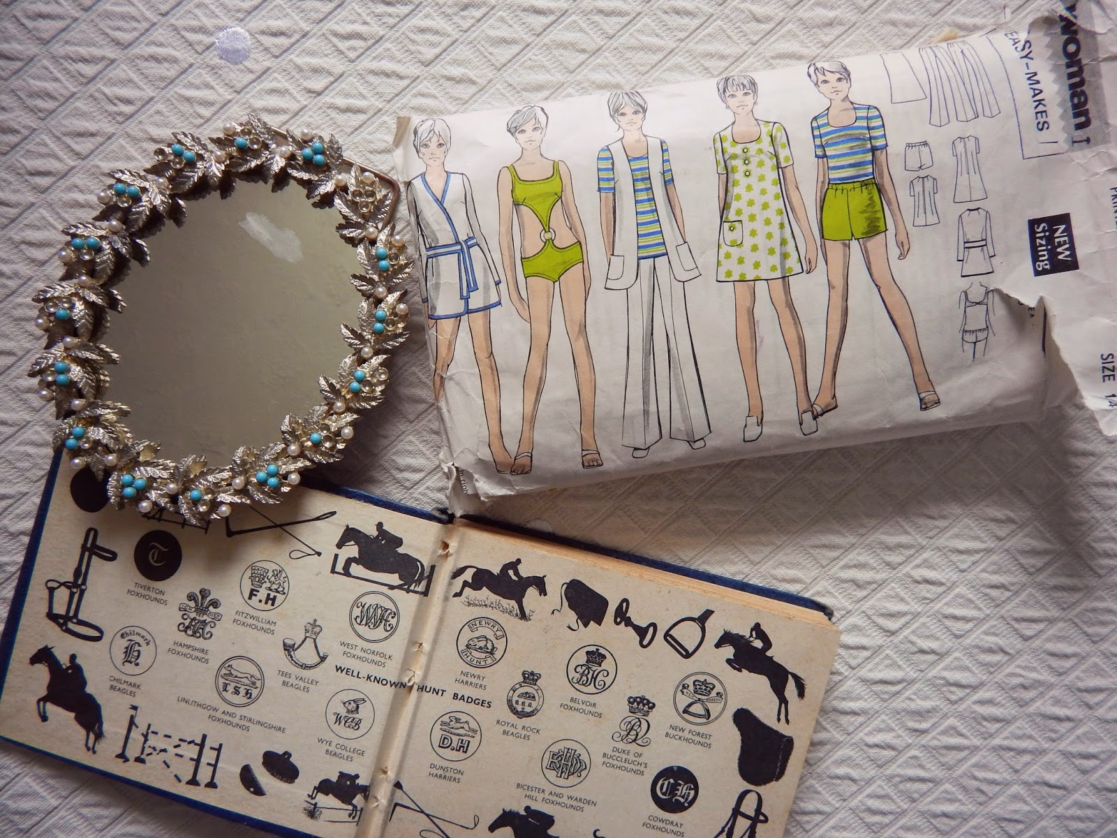 Vintage Sewing Patterns, Books, and Mirror