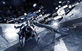 Black Rock Shooter Bike Anime Girl Weapon Black Hair HD Wallpaper Desktop PC Background