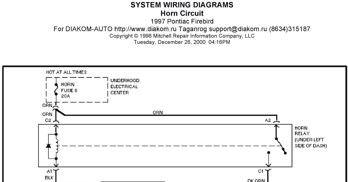 1997       Pontiac    Firebird System    Wiring       Diagrams    Horn Circuit      Schematic       Wiring       Diagrams    Solutions