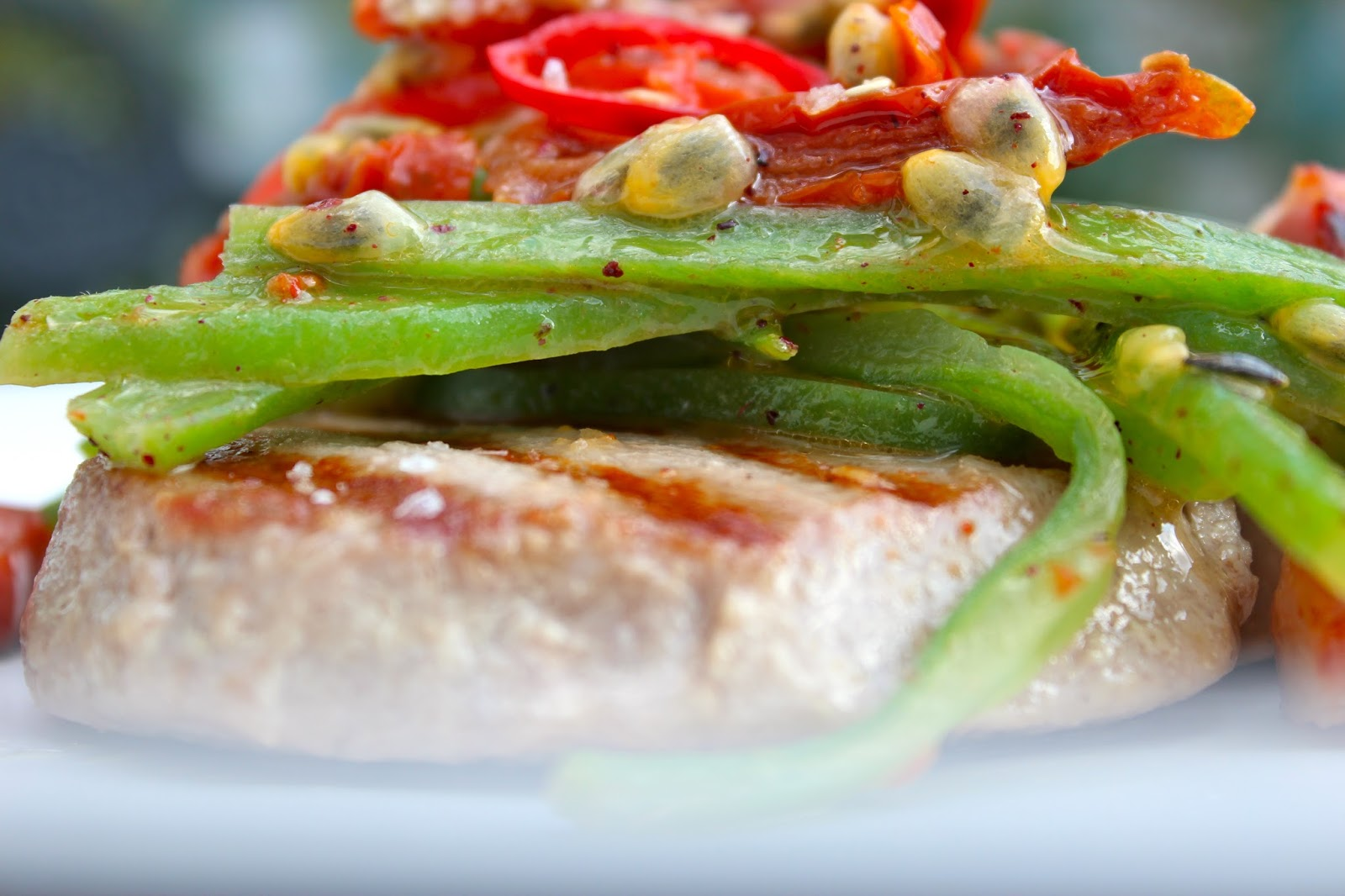 Tuna with Sumac, Green Beans, Sun dried Tomatoes, Fresh Tomato's ...