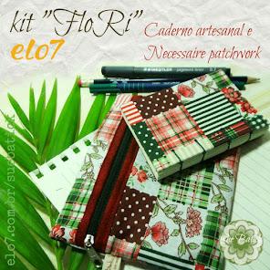 "Kit ""FloRi"" Caderno artesanal e Necessaire patchwork"