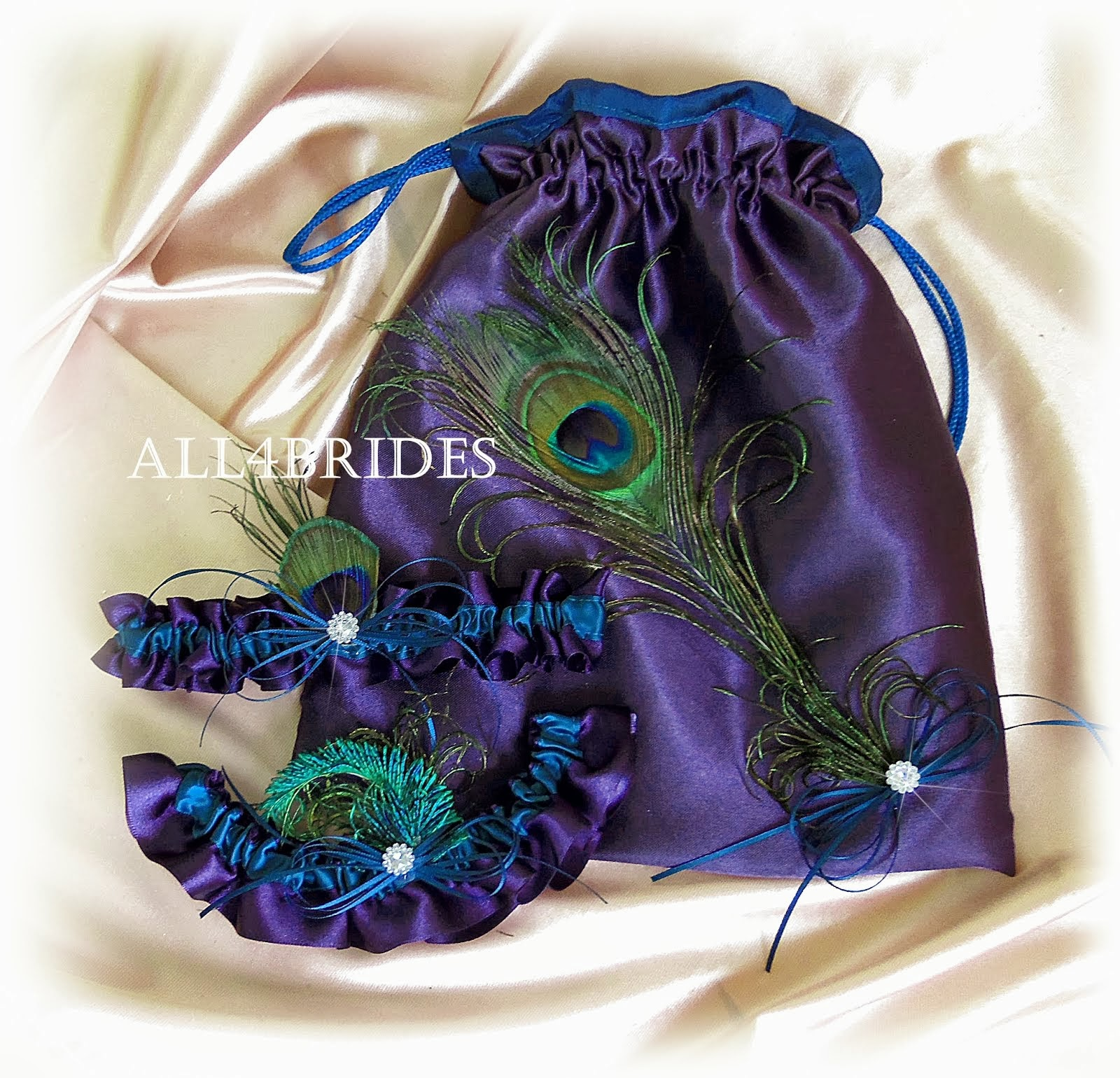 Lapis and Teal Bridal garters and bag
