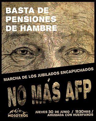 SANTIAGO: BASTA DE PENSIONES DE HAMBRE, MARCHA DE LOS JUBILADOS ENCAPUCHADOS