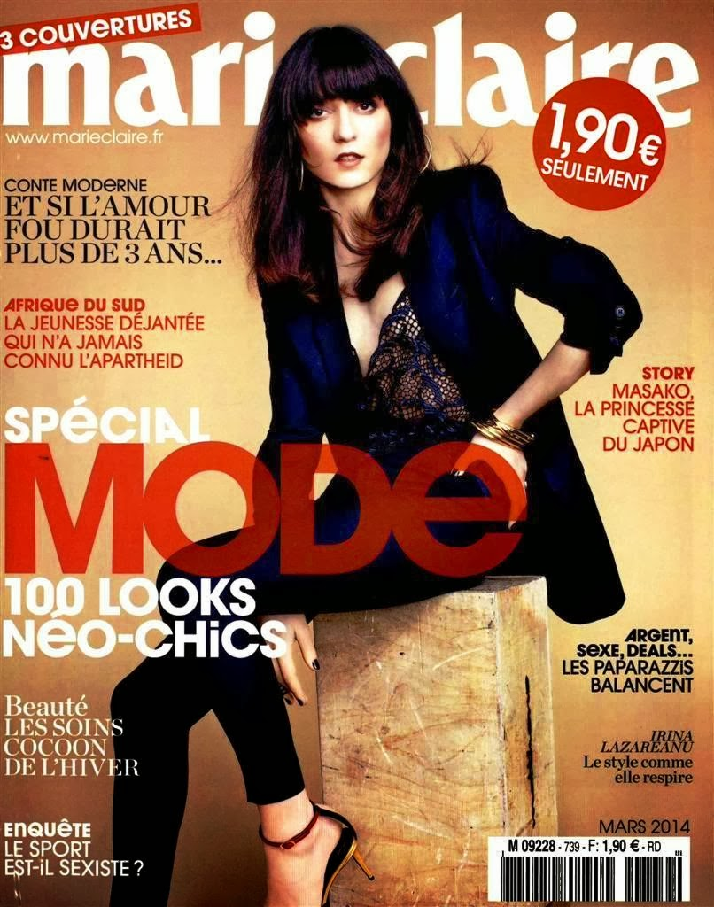 Irina Lazareanu Photos from Marie Claire France Magazine Cover March 2014 HQ Scans