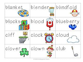 bl, cl, fl, gl, pl, sl 'L' Word Blend Activity - Kindergarten Smarts