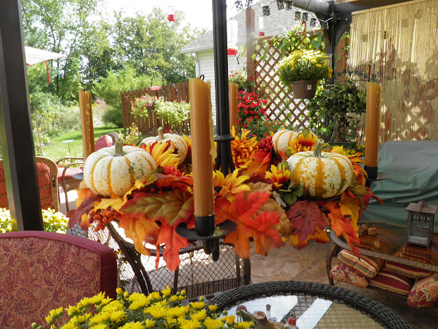 Fall chandelier wreath, fall patio