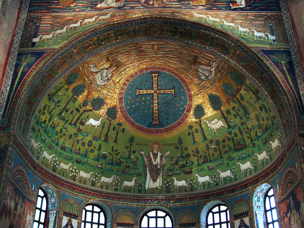 Ravenna Ca 533 Mosaic Showing Apollinaris Patron Martyr Saint Of Church Spreading His Hands Beneath Ornamental Cross 3 Sheep Represent Apostles John