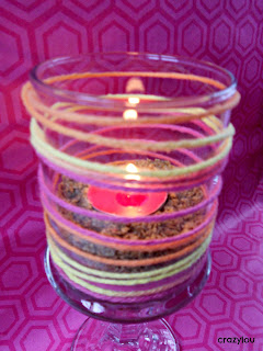 Dollar Store Yarn Wrapped Candle Holder