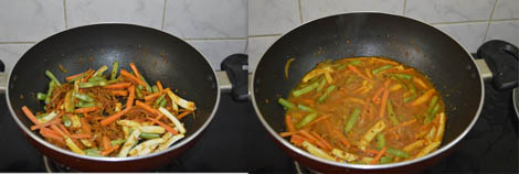 cooking vegetables for paneer veg jalfrezi