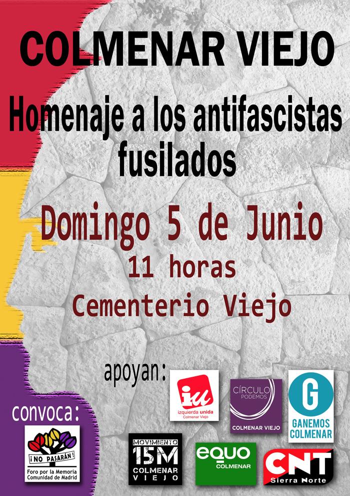 5 junio Homenaje en Colmenar a los fusilados de Fuencarral